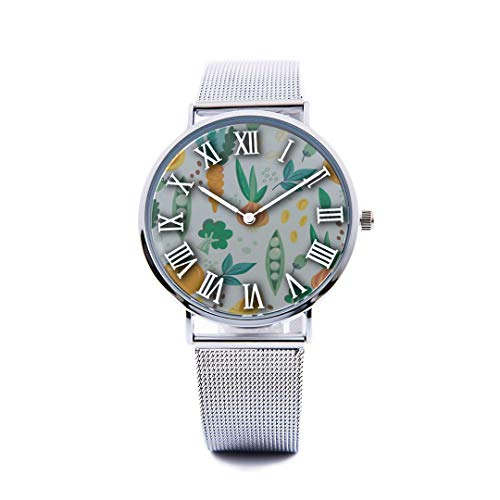 Unisex Fashion Watch Fruit and Vegetable Harvest Sweet Print Dial Quartz Stainless Steel Wrist Watch with Steel Strap Watchband for Men Women 40mm Casual Watch