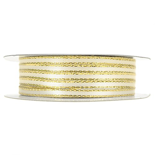 Homeford Double Faced Gold Trim Satin Ribbon, 1/8-Inch, 50-Yard (Ivory)