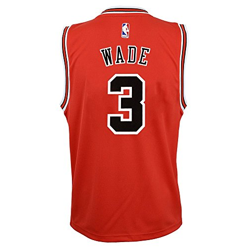 - OuterStuff Dwyane Wade NBA Chicago Bulls Official Road Red Player Replica Jersey Youth S-XL