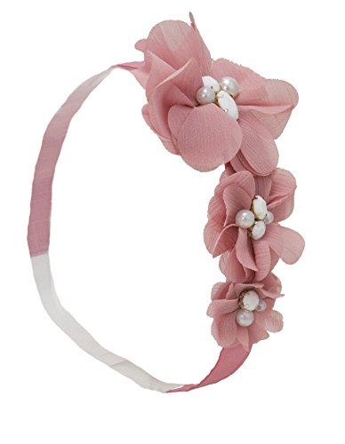 Mia Flower Headband, Beautiful Chiffon Hair Accessory on Elastic Rubber Band, Mauve Pink, for Women and Girls 1pc