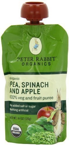 PETER RABBIT BABY PEA SPNCH APPLE ORG, 4.4 OZ