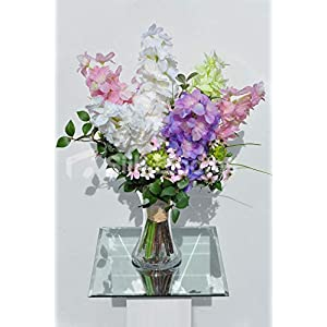 Artificial Pink, Purple, Green and White Delphinium Flower Display w/Wildflower and Foliage 90