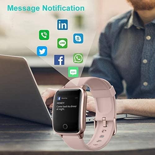 Willful Smart Watch for Men Women 2020 Version IP68 Waterproof, Fitness Tracker Heart Rate Monitor Sport Digital Watch, Smartwatch for Android Phones and iOS Phones Compatible iPhone Samsung (Pink) 41f594saLrL