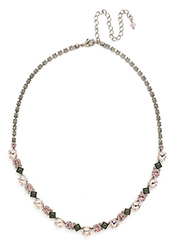 Sorrelli Army Girl Dazzling Line Pink & Green Mix Crystal Silvertone - Designer Necklace Sorrelli