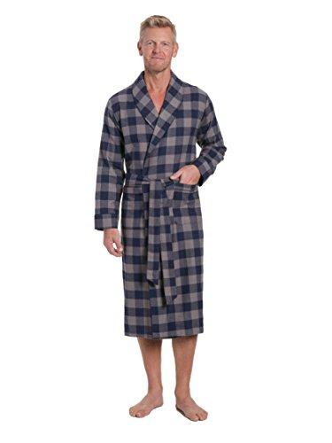 Premium Flannel - Men's Premium Flannel Robe - Gingham Checks - Charcoal-Navy - Small/Medium