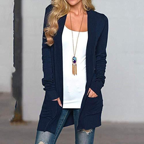 Grande Punto Chaqueta Mujer Tamaño Suéter Cn Larga Talla Azul EgHqvfw