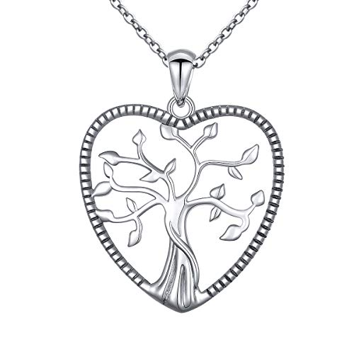 ALPHM S925 Sterling Silver Tree of Life Heart Pendant Necklace Jewelry for Women Teen Girl