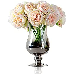 Felice arts Silk Peony Bouquet 5 Heads Artificial Fake Flower Bunch Bouquet Bridal Bouquet Wedding Living Room Table Home Garden Decoration, Champagne