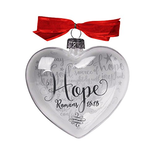 Hope Romans 15:13 Silver Tones 3.5 inch White Glass Heart Shaped Christmas Ornament -