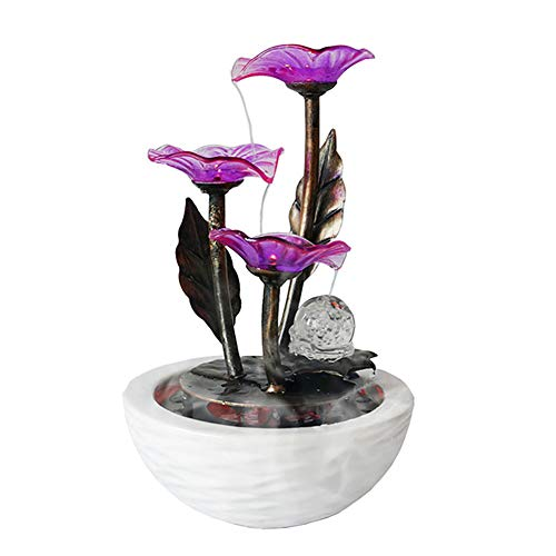 SFXYJ Handmade Indoor Fountain, Ceramics Feng Shui Ornaments, Waterfall for Home Decor with LED Color Lights, Crystal Ball, Water Pump