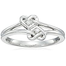 Sterling Silver Diamond Accent Double Heart Knot Ring, Size 6