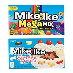 Mike and Ike Sundae Sweets and Mike and Ike Mega Mix 5 Oz Box, (Pack of 4) (Ice Cream Sundae Basket)