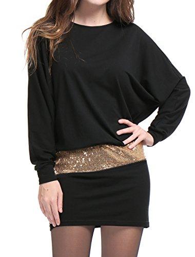 Allegra K Women's Batwing Sleeves Sequins Accent Blouson Mini Dress XL Black