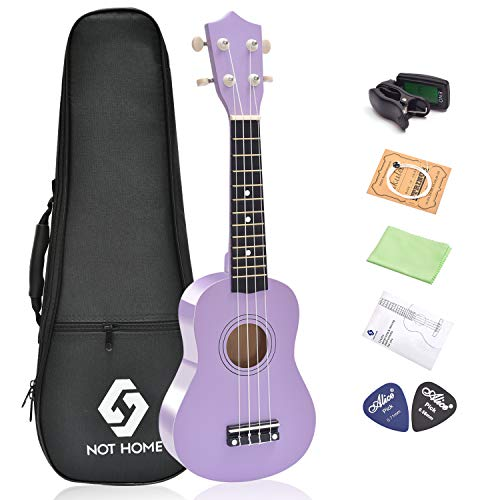 Soprano Ukulele Beginner Pack, 21 Inch Basswood kids Ukuleles Starter Kit with Gig Bag Digital Tuner Spare Strings and Picks. (purple)