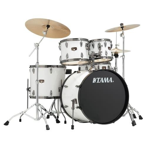 Tama IP52NBCSGW 5pc Complete Kit Sugar White (w/ 22 Inch Bass Drum) with MEINL HCS cymbals