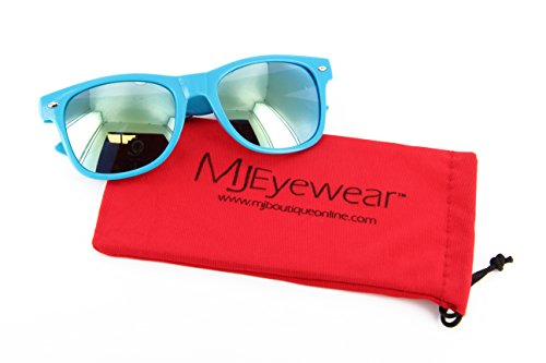 MJ Eyewear Neon Retro Sunglasses Color Mirror Lens (Blue, Color Mirror - Blues Sunglasses Miami Wayfarer