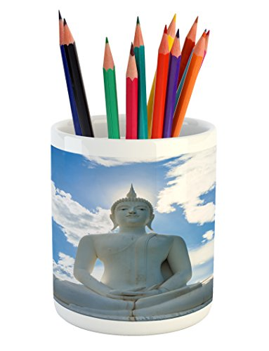 Asian Pencil Pen Holder by Lunarable, Sculpture and the Sunny Sky with Clouds Oriental Hands Sage Mystic Style Asian Art, Printed Ceramic Pencil Pen Holder for Desk Office Accessory, White Blue Sculpture Sage