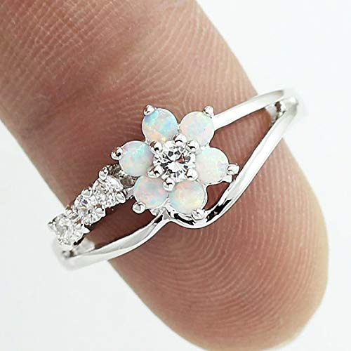 (moahhally Exquisite Round Cut White Fire Opal Stone 925 Sterling Silver Flower Women Opal Rings Diamond Jewelry Birthday Proposal Gift Bridal Engagement Party Band Rings Size 6-10)