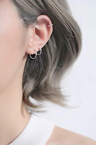 - Fashion s925 Sterling Silver Hoop Earrings earings Dangler Eardrop Handmade Wire Wrapped Delicate Ear Hoop Round Ear Ear Bone Nail Hypoallergenic Pierced Women Girls Support