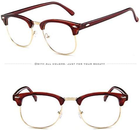 Doyime Retro-Brille mit transparenten Gl/äsern brauner Rahmen