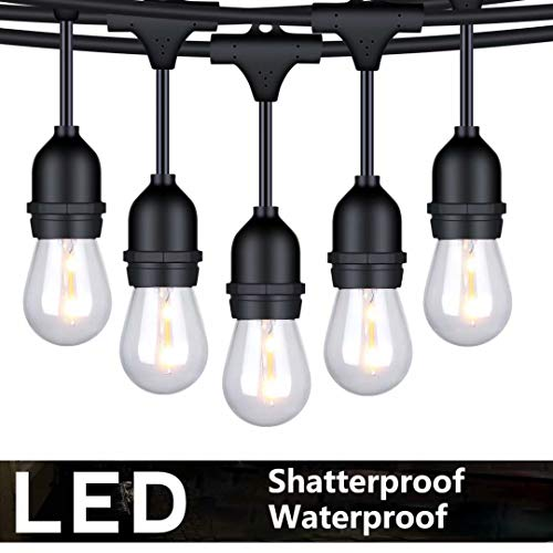 FOXLUX Outdoor String Lights - 48 ft Shatterproof and Waterproof Heavy-Duty LED Outdoor Lights - 15 Hanging Sockets, 1 W Plastic Bulbs - Create Ambience for Patio, Backyard, Garden, Bistro, Cafe from FOXLUX