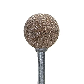 "Norton Pacesetter Vitrified Bond Abrasive Mounted Point, Aluminum Oxide, B121 Shape, 1/8"" Spindle Diameter, 1/2"" Ball Diameter, Grit 60 (Pack of 5)"