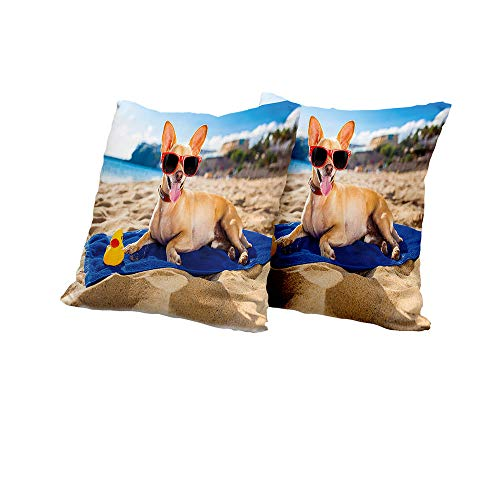 All of better Wheelchair Cushion Cover Funny,Chihuahua Dog at The Ocean Shore Sunbathing Smiling Coastal Charm Print,Sand Brown Light Blue Couch Pillow Covers 14x14 INCH 2pcs