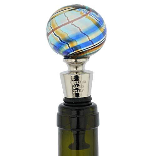 GlassOfVenice Murano Glass Bottle Stopper - Aqua Swirls