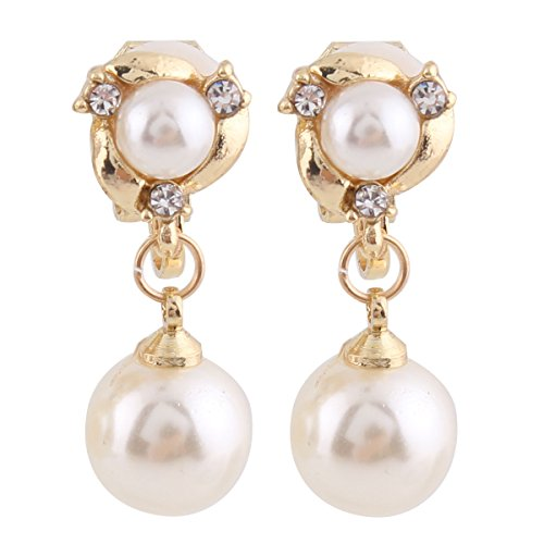 Grace JunLuxury Gold-tone or Silver-tone Clear Crystal White Simulated Pearl Clip-on Drop Earring (gold)