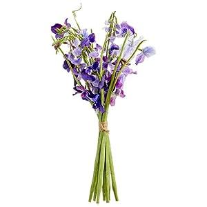 """17"""" Sweet Pea Silk Flower Stem Bundle -Purple/Violet (Pack of 6) 61"""