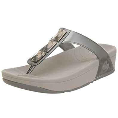 FitFlop Women's Pietra Sandal,Pewter,11 M US