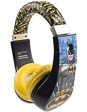 Batman 30382 Kid Safe Over the Ear Headphone with Volume Limiter, w/Volume Limiter, 3.5MM Stereo Jack, Bat Man Blue Black & Yellow Super Hero by Sakar
