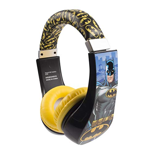 (Batman 30382 Kid Safe Over the Ear Headphone with Volume Limiter, w/Volume Limiter, 3.5MM Stereo Jack, Padded, Bat Man Blue Black & Yellow Super Hero by Sakar, Black/ Yellow)