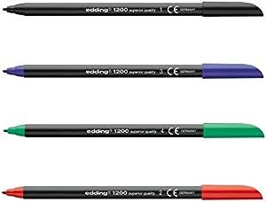 Rotuladores Edding 1200, Caja x 10 Surtida (5 Negro, 2 Azul, 2 Rojo, 1 Verde): Amazon.es: Oficina y papelería