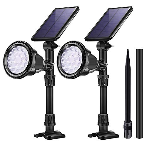 KASUN Outdoor Solar Lights, JSOT 18 LED Spotlight Waterproof Landscape Lights Solar Security Lamps for Garage Deck Garden Wall (White Light, Pack of 2)