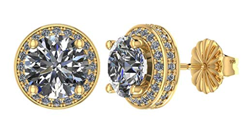 NANA Sterling Silver & 14k post Swarovski CZ Round Halo Stud Earrings- 4.0mm-0.85cttw -Yellow Gold Plated