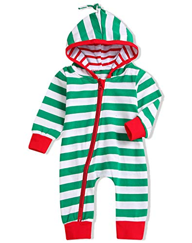 Unisex Baby Boy Girls Christmas Outfit Family Pajamas Long Sleeve Striped Zipper Hooded Romper Jumpsuit Infant Clothes (Green, 6-12 Months) -