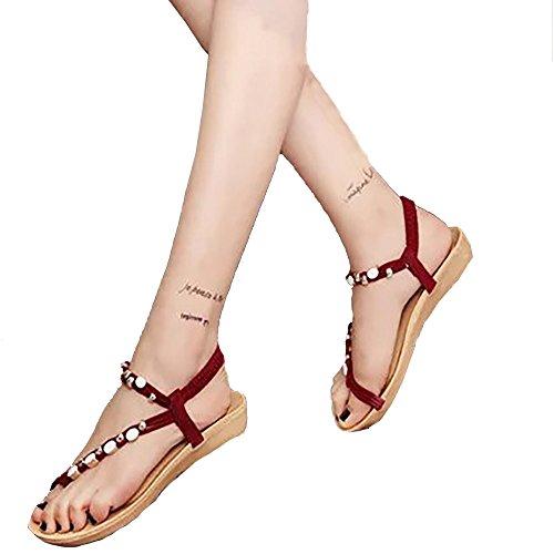 Xturfuo Women's Sweet Summer Bohemia Beaded Sandals Clip Toe Beach Flower Ankle Strap Flat ()