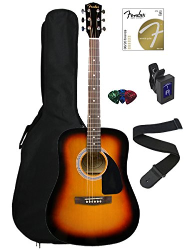 Fender FA-100 Dreadnought Acoustic Guitar Bundle with Gig Bag, Tuner, Strap, Picks, Strings - Sunburst