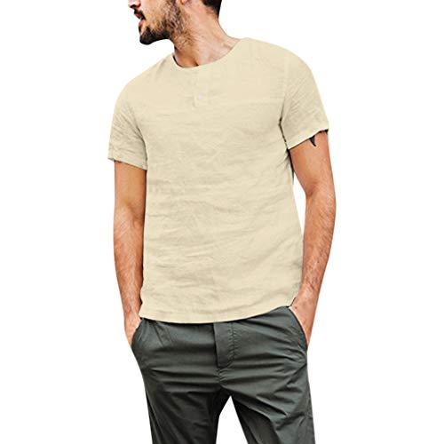 Fastbot Men Shirts Short Sleeve Polo Shirt Slim fit Baggy Cotton Linen Solid Color Button Tops Blouses Khaki