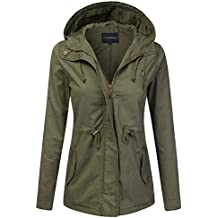 JJ Perfection Women's Casual Lightweight Anorak Army Utility Hoodie Jacket