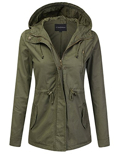 - JJ Perfection Women's Casual Lightweight Cotton Anorak Army Utility Jacket Olive L