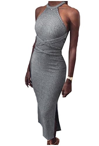 Coolred-femmes Backless Style De Base Solide Crayon Gris Moulante Robe Longue
