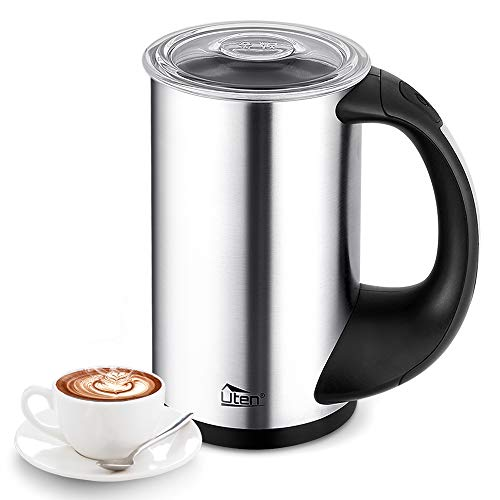 Hot Foam (Milk Frother Automatic Milk Steamer and Warmer with Hot or Cold Milk Function Stainless Steel Electric Liquid Heater Foam Maker for Coffee, Cappuccino, Macchiato and Latte)