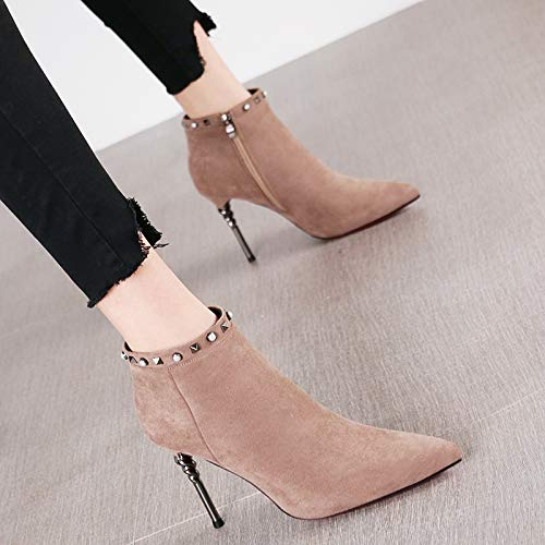 HRCxue Pumps Spitzen Frauen Spitzen Pumps sexy Nieten Stiletto Heels Metall Ferse Reißverschluss Stiefel Stiefel Stiefel nackte Stiefel d3139b