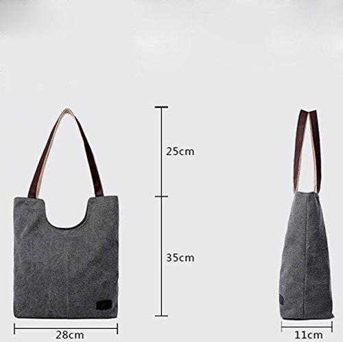 Mujer Nueva Europa Lona bolsos De Hombro Bolsos Capacidad Grande Bolso Grey