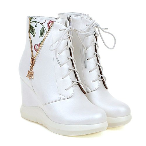 DecoStain Women's PU Mixed-Color Wedge Heel Winter High Top Boots Ladies Ankle Sneaker Army Biker New Size UK White A7RyV0R