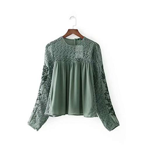 per stile con lunghe casual in Camicia camicetta Dimensione estate L Verde in Verde primavera FuweiEncore ragazze Colore maniche F8wRxqq