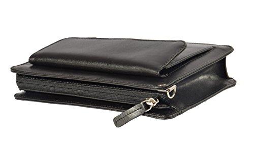 Real Cuero Muñeca Bolso de Mano Wristlet Dinero Organizador Bolsa Montreal Negro