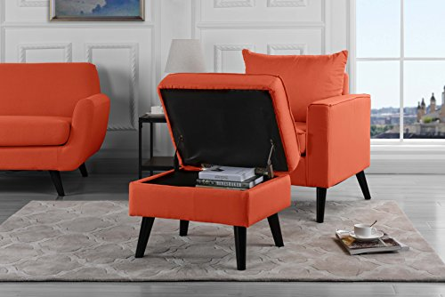 Mid-Century Modern Living Room Large Accent Chair with Footrest/Storage Ottoman (Orange)